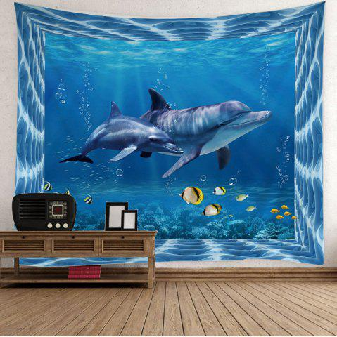 Fish Dolphin Ocean Print Wall Tapestry - Light Blue - W79 Inch * L59 Inch