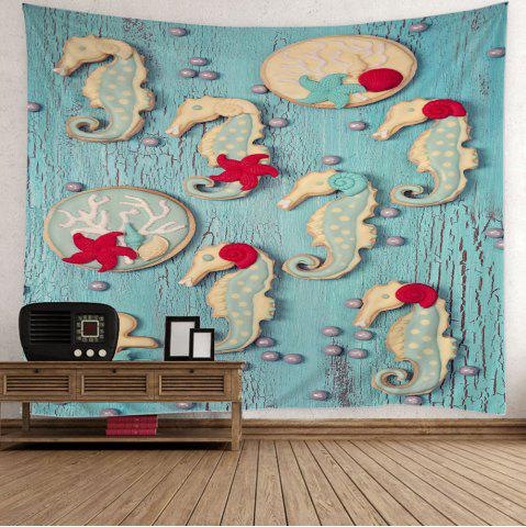 Outfits Sea Horse Wood Grain Wall Hanging Tapestry - W59 INCH * L51 INCH LIGHT BLUE Mobile