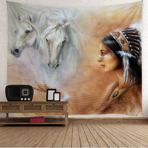 Horse African Girl Print Wall Hanging Tapestry - Colorful - W79 Inch * L59 Inch