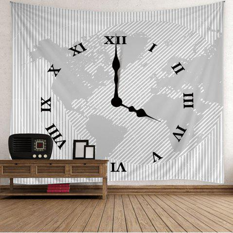 Sale Roman Numerals Clock Print Wall Hanging Tapestry - W59 INCH * L51 INCH GRAY Mobile