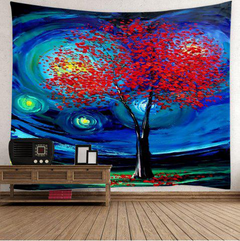 Fashion Home Decor Oil Painting Life of Tree Space Wall Tapestry - W59 INCH * L51 INCH DEEP BLUE Mobile