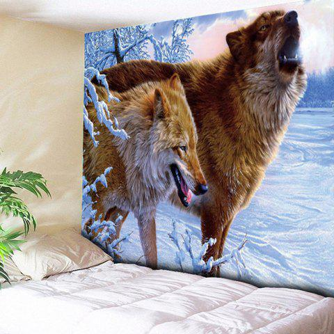 Affordable Snowfield Wolves Wall Hanging Animal Tapestry - W51 INCH * L59 INCH BROWN Mobile