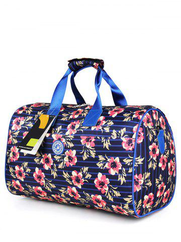 Nylon Print Gym Bag - Blue And Pink