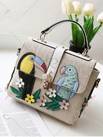 Affordable Parrot and Flower Patches Weave Crossbody Bag - WHITE  Mobile
