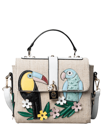 New Parrot and Flower Patches Weave Crossbody Bag - WHITE  Mobile