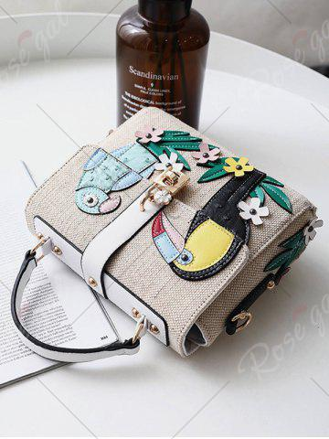 Shops Parrot and Flower Patches Weave Crossbody Bag - WHITE  Mobile