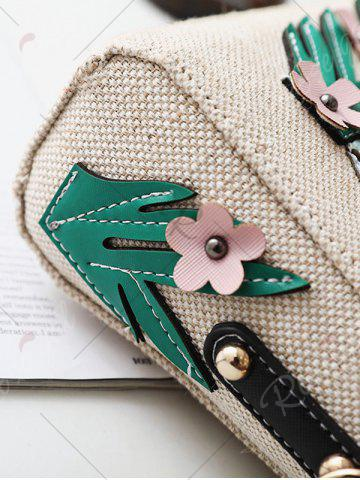 Chic Parrot and Flower Patches Weave Crossbody Bag - WHITE  Mobile