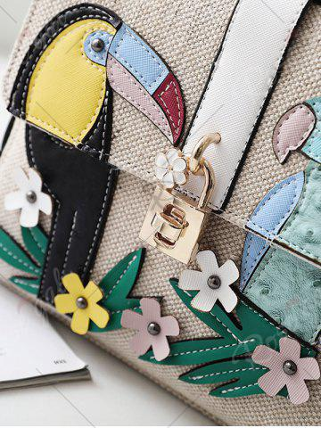 Sale Parrot and Flower Patches Weave Crossbody Bag - WHITE  Mobile