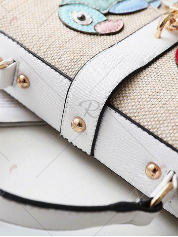 Latest Parrot and Flower Patches Weave Crossbody Bag - WHITE  Mobile