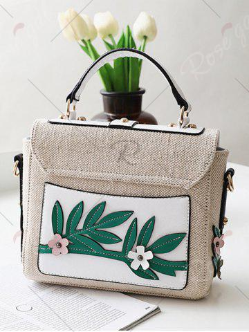 Store Parrot and Flower Patches Weave Crossbody Bag - WHITE  Mobile