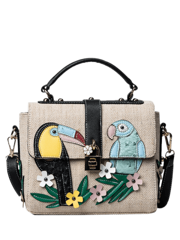 Store Parrot and Flower Patches Weave Crossbody Bag - BLACK  Mobile
