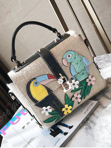 New Parrot and Flower Patches Weave Crossbody Bag - BLACK  Mobile