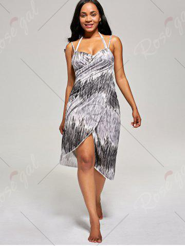 Cheap Cover Up Wrap Dress - ONE SIZE BLACK Mobile