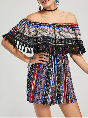 Tassel Ruffle Off The Shoulder Boho Romper Multi XL