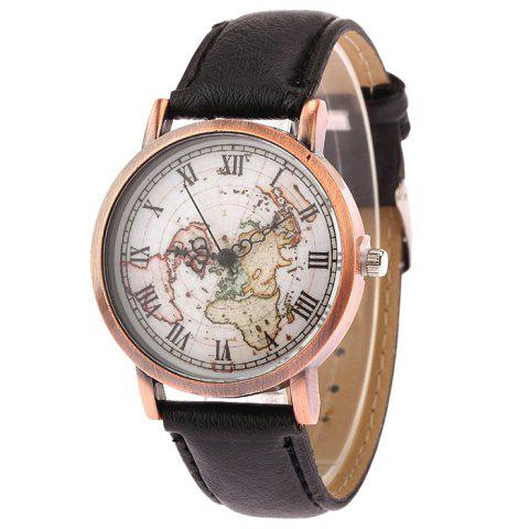 Trendy Faux Leather Strap World Map Face Watch BLACK