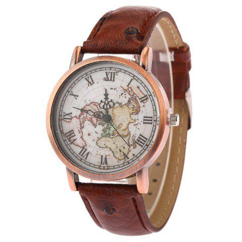 Shop Faux Leather Strap World Map Face Watch BROWN