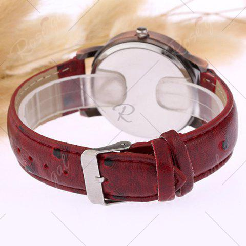 Affordable Faux Leather Strap World Map Face Watch - WINE RED  Mobile