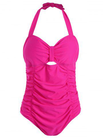 Latest Halter Ruched One Piece Plus Size Swimsuit ROSE MADDER 5XL