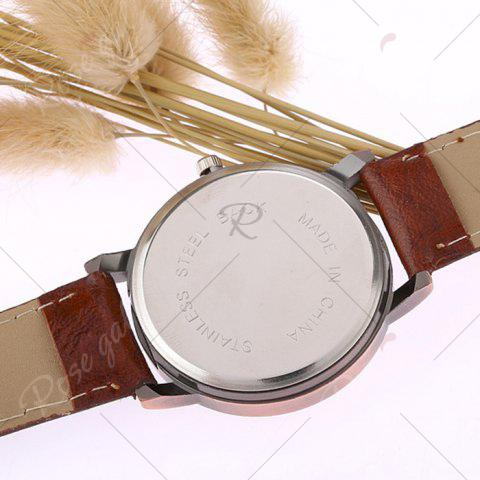 New Faux Leather Strap World Map Face Watch - WINE RED  Mobile