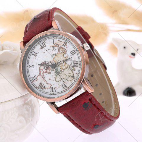 Latest Faux Leather Strap World Map Face Watch - WINE RED  Mobile