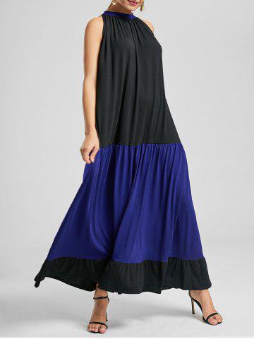 Two Tone Sleeveless Maxi Casual Dress - Blue And Black - S