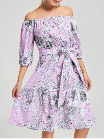 Outfit Off The Shoulder Striped Floral Dress PINK S