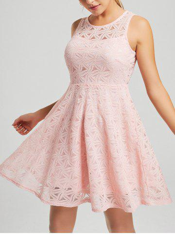 Outfits Lace Sleeveless Short Party Skater Dress - L PINK Mobile