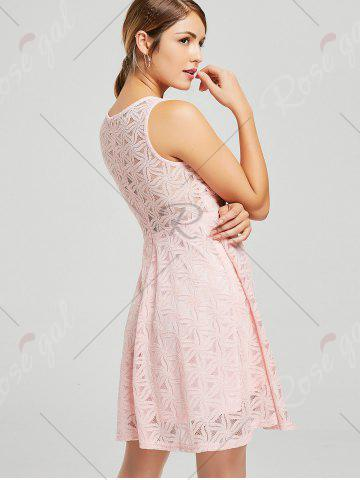 Online Lace Sleeveless Mini Cocktail Skater Dress - XL PINK Mobile