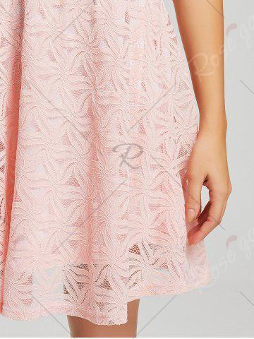 Affordable Lace Sleeveless Mini Cocktail Skater Dress - XL PINK Mobile