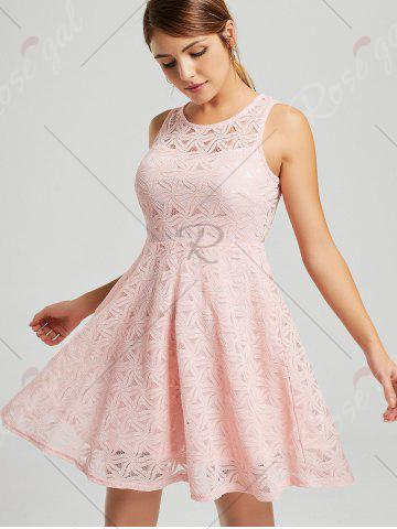 Affordable Lace Sleeveless Mini Cocktail Skater Dress - 2XL PINK Mobile