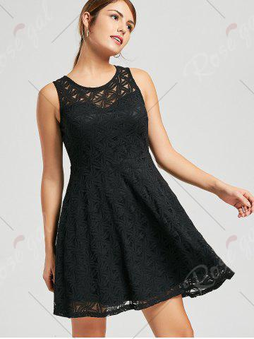 Shop Lace Sleeveless Mini Cocktail Skater Dress - S BLACK Mobile