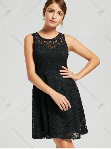 Unique Lace Sleeveless Mini Cocktail Skater Dress - S BLACK Mobile