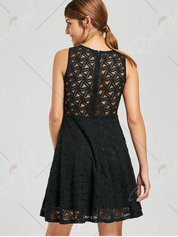 Fashion Lace Sleeveless Mini Cocktail Skater Dress - S BLACK Mobile