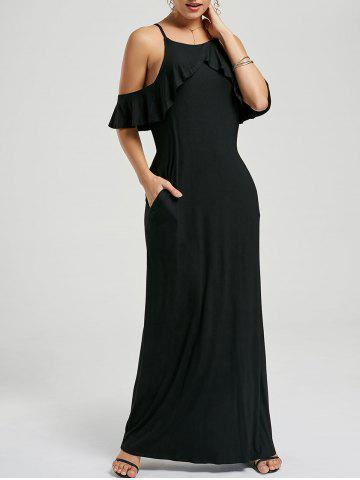 Ruffle Maxi Cold Shoulder Dress - Black - M