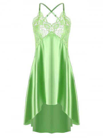 Asymmetric Crossback Lace Panel Satin Slip - Grass Green - 2xl