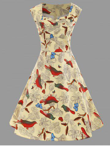 Outfit Animal Bird Floral Print Plus Size A Line Dress