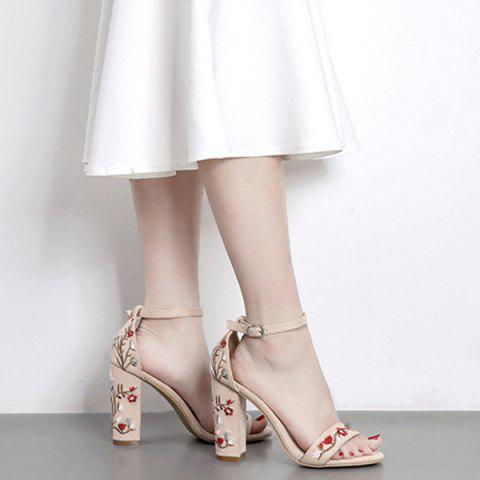 Unique Embroidered Ankle Strap Sandals - 39 APRICOT Mobile
