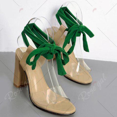 Affordable Chunky Heel Lace Up Sandals - 37 NUDE Mobile