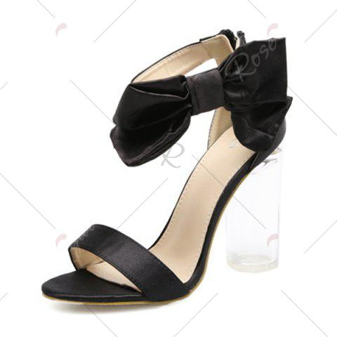 Affordable Bow Clear Chunky Heel Sandals - 37 BLACK Mobile