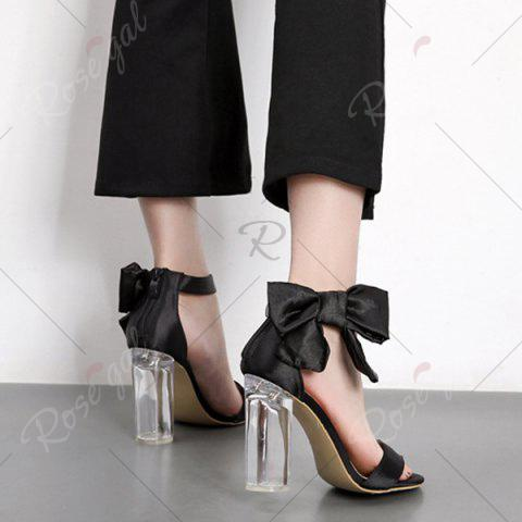 Best Bow Clear Chunky Heel Sandals - 37 BLACK Mobile
