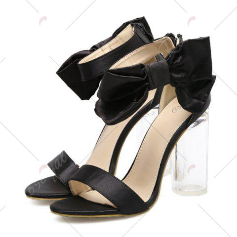 Discount Bow Clear Chunky Heel Sandals - 37 BLACK Mobile