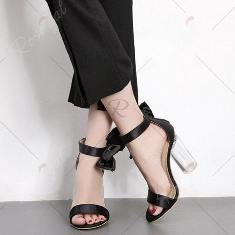 Hot Bow Clear Chunky Heel Sandals - 37 BLACK Mobile