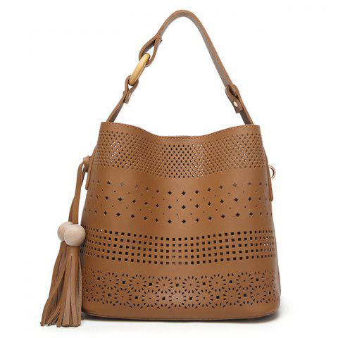 Fancy Tassel Cut Out Tote Bag BROWN