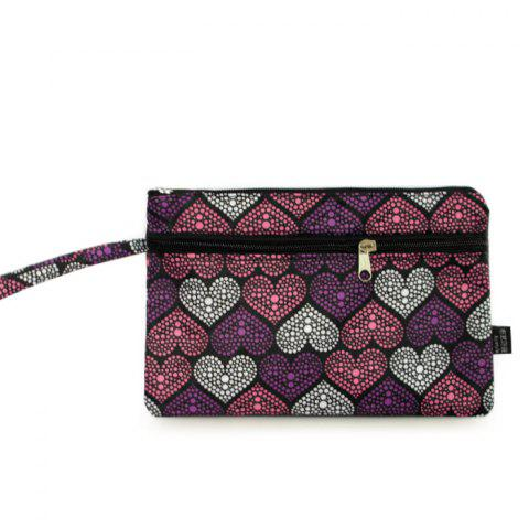 Nylon Print Wristlet Pouch Bag - Purple