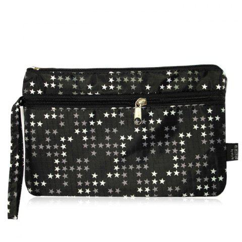 Unique Nylon Print Wristlet Pouch Bag - BLACK  Mobile