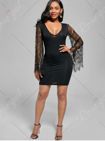 Affordable Bell Sleeve Tight Mini Dress - XL BLACK Mobile