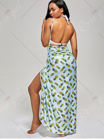 Affordable Pineapple Cover Up Wrap Dress - S LIGHT BLUE Mobile