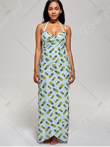 Chic Pineapple Cover Up Wrap Dress - S LIGHT BLUE Mobile