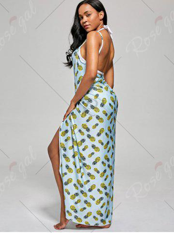 Discount Pineapple Cover Up Wrap Dress - S LIGHT BLUE Mobile