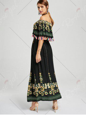Hot Tassel Off The Shoulder Maxi Boho Dress - S BLACK Mobile